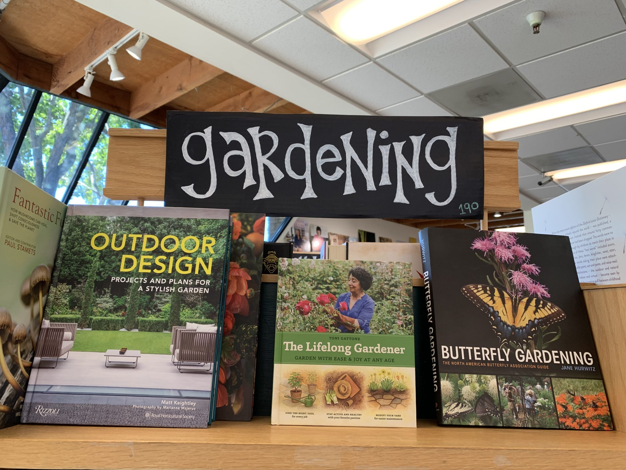 The Lifelong Gardener is displayed among other prominent gardening expertise books at The Book Passage in Corte Madera.
